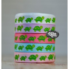"5 yards 3/8"" Turtle Print Grosgrain Ribbon"