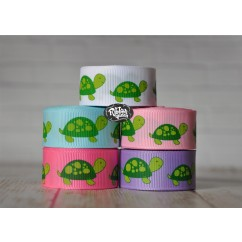 "5 yards 7/8"" Big Turtle Print Grosgrain Ribbon"