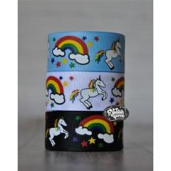 "5 yards 7/8"" Rainbow Unicorn Print Grosgrain Ribbon"