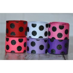 "5 yards 7/8"" Valentine's Black Glitter Dots Grosgrain Ribbon"