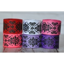 "5 yards 7/8"" Valentine's Black Glitter Dottie Damask Grosgrain Ribbon"