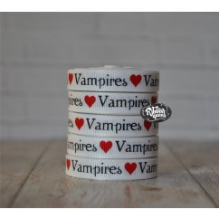 "5 yards 3/8"" Vampire Love Print Grosgrain Ribbon"