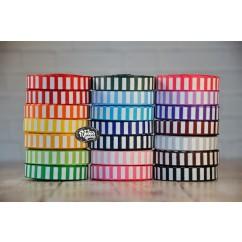 "5 yards 3/8"" White Ink Barrel Stripe Printed Grosgrain Ribbon"