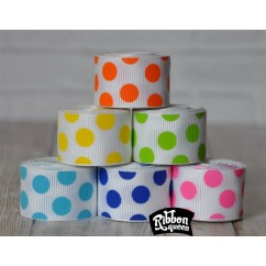 "5 yards 7/8"" Multi Dots on White Grosgrain Ribbon"