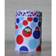 5 yards White 4th of July Funky Dots Grosgrain Ribbon