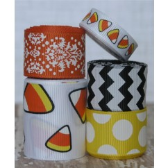 10 yards White Candy Corn Ribbon Mix