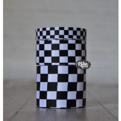 5 yards White with Black Checkered Flag Print Grosgrain Ribbon