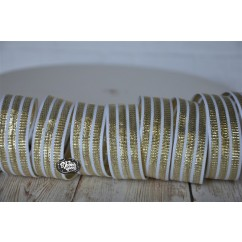 "5 yards 7/8"" Gold Metallic Triple Stripe Grosgrain Ribbon"