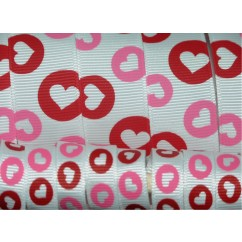 5 yards White Heart Dots Print Grosgrain