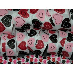 5 yards White Patchwork Heart Print Grosgrain