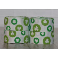 "5 yards 7/8"" White Shamrock Dots Grosgrain Ribbon"