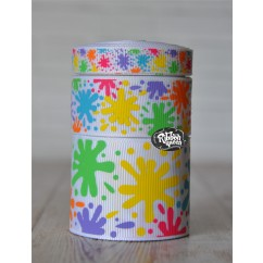 5 yards White Paint Splatter School Print Grosgrain Ribbon