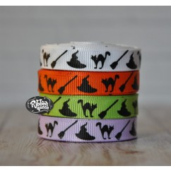 "5 yards 3/8"" Witches Print Grosgrain Ribbon"