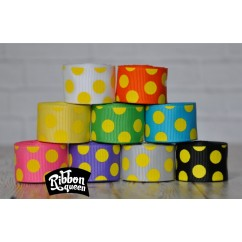 "5 yards 7/8"" Halloween Yellow Funky Dots Grosgrain Ribbon"