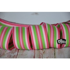 "5 yards 1.5"" Yummy Pink Stitch Stripe Grosgrain Ribbon"