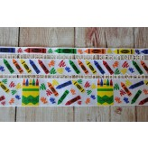 5 yards Primary Crayon School Print Grosgrain Ribbon