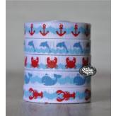 """5 yards 3/8"""" Ocean Prints Grosgrain Ribbon"""