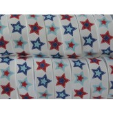 "5 yards 7/8"" Patchwork Star Print Grosgrain Ribbon"